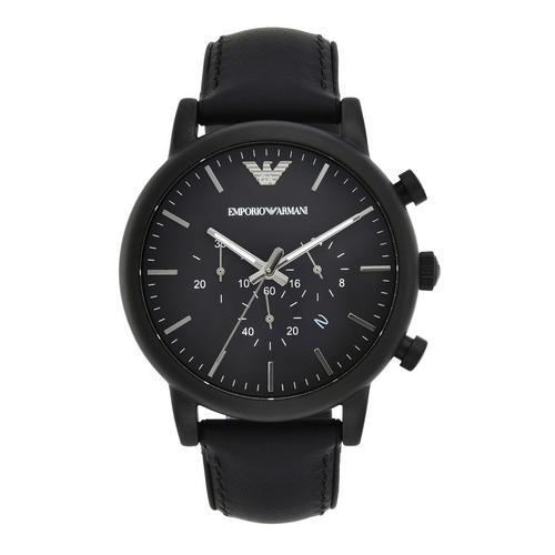EMPORIO ARMANI Luigi Chronograph Black Leather Watch 46mm