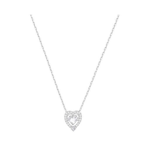 SWAROVSKI Sparkling Dance Heart Necklace, White, Silver tone