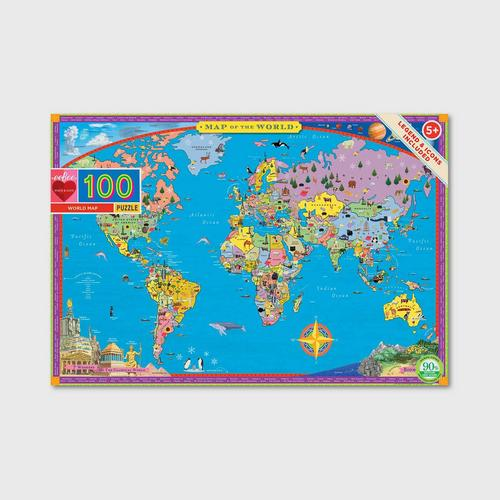 EEBOO - World Map 100 pc Puzzle E