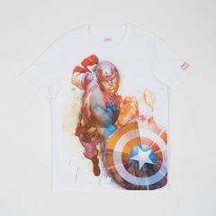 MARVEL Teen Men T-Shirt Captain America White-XS