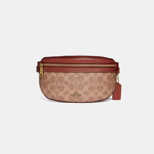COACH Belt Bag In Signature Canvas - Tan/Rust/Brass