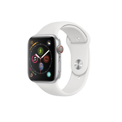 APPLE WATCH Series 4 GPS+Cellular 44mm Silver Aluminum Case With White Sport Band