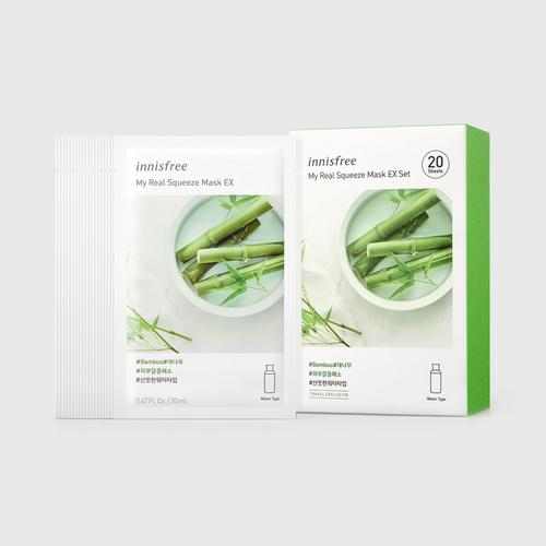 INNISFREE My Real Squeeze Mask EX Set - Bamboo (20ml x 20 Sheets)