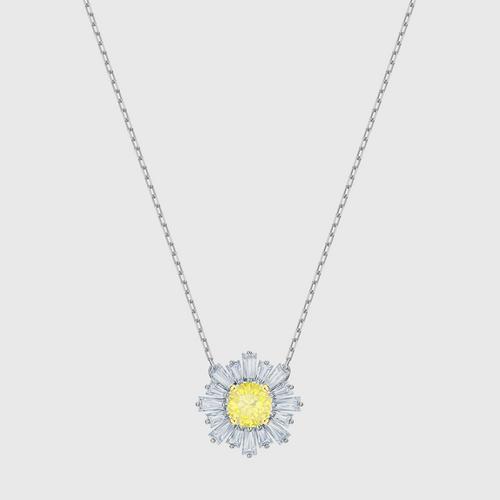 SWAROVSKI Sunshine Pendant, Yellow, Rhodium plated
