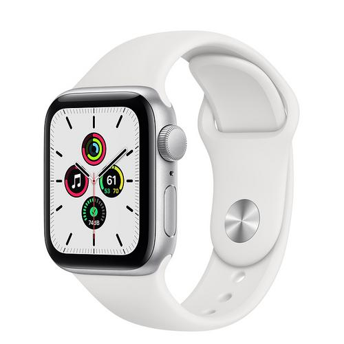 Apple Watch SE (GPS) Silver Aluminum Case with White Sport Band (40mm)