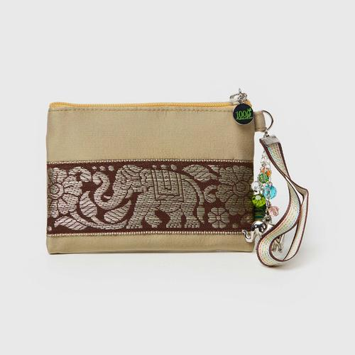 1000Roads Silk Purse With Crystal Tassel - Gold