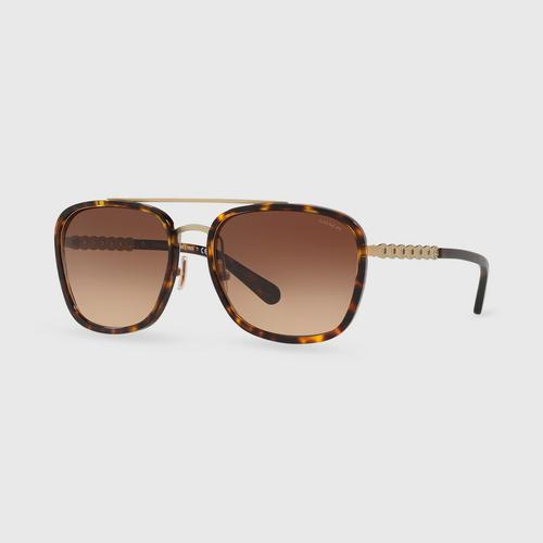 COACH Sanded Light Gold Dark Brown Gradient Female Sunglasses