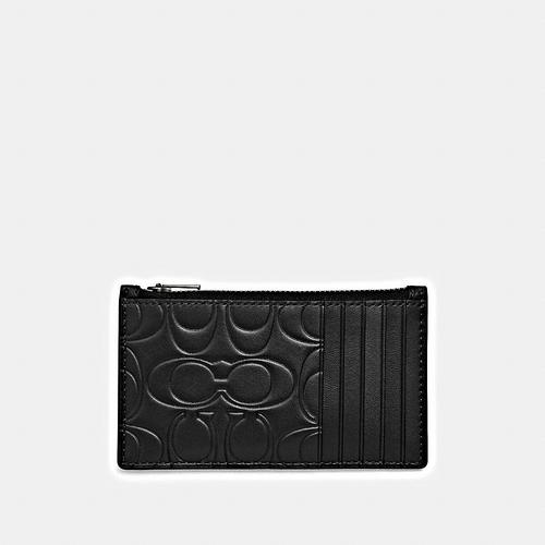 COACH Zip Card Case in Embossed Signature Leather - BLACK