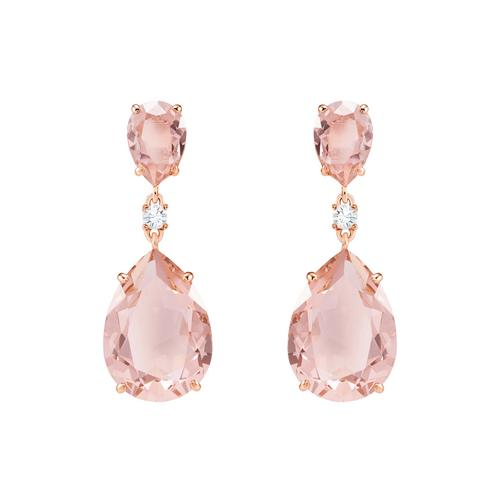 SWAROVSKI Vintage Drop Pierced Earrings, Pink, Rose gold plating
