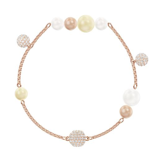 SWAROVSKI Remix Collection Pearl Strand, Multi-colored, Rose-gold tone plated - Size S