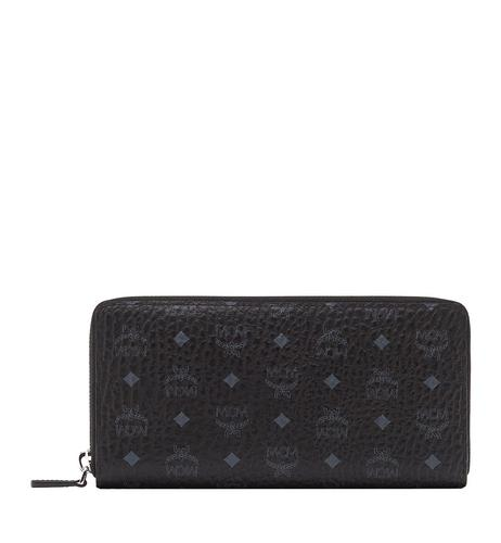MCM ZIPPED WALLET LARGE BLACK - BLACK