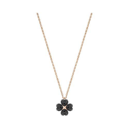 SWAROVSKI Latisha Flower Pendant, Black, Rose gold plating