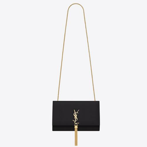 SAINT LAURENT KATE MEDIUM WITH TASSEL IN SMOOTH LEATHER - NERO