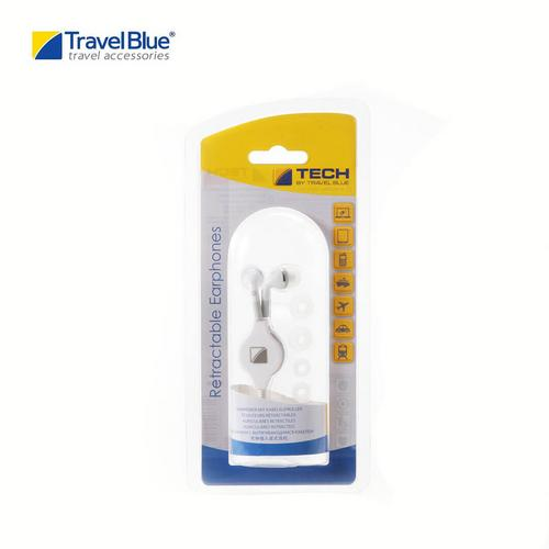 Travel Blue TB552 Retractable Cable Earphones - White
