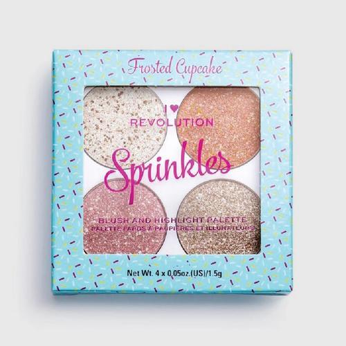 MAKEUP REVOLUTION Sprinkles-Frosted Cupcake Blush & Highlight Pallette 4x0.05 oz