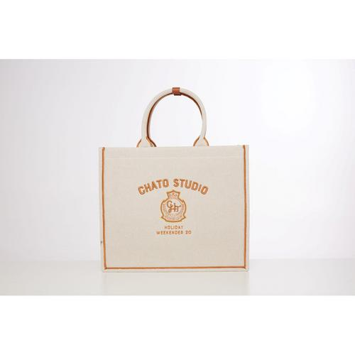 CHATO STUDIO Canvas Plam Springs Tote Brown-L  W18 x L41 x H35 cm.