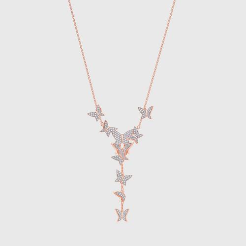 SWAROVSKI Lilia Y Necklace, White, Rose-gold tone plated