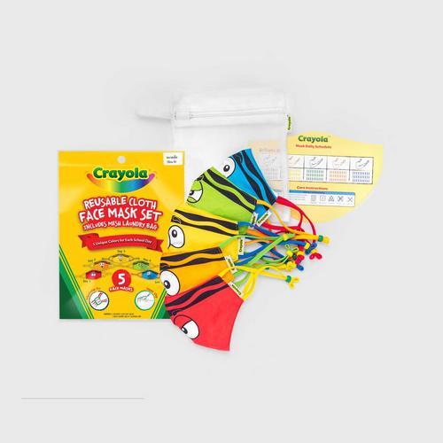 SchoolMaskPack™ Crayola™ Reusable Cloth Face Mask Set - Tip™ Faces (Size S)
