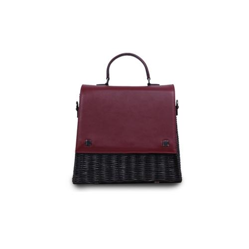 VT THAI LAILA WICKER HAND BAG -Burgundy