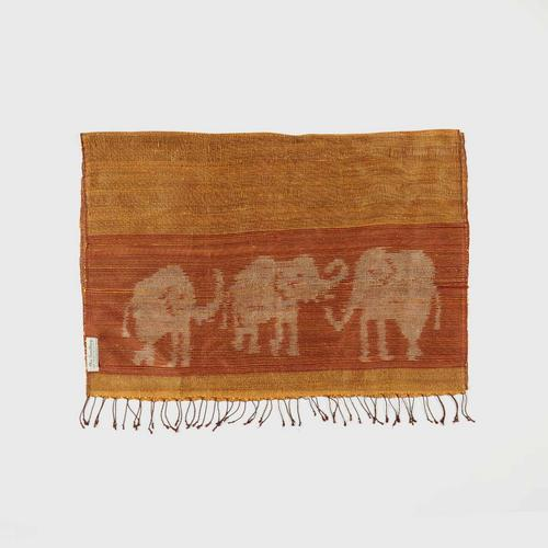 PRAEPRAO Buriram Silk Shawl - Elephant Stripe's feets 65 X 180 cm. Color YELLOW