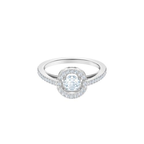 SWAROVSKI Sparkling Dance Round Ring, White, Rhodium plated-Size 52