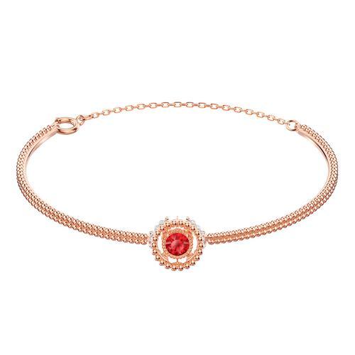 SWAROVSKI Oxygen Bangle, Red, Rose-gold tone plated