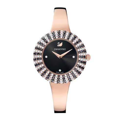 SWAROVSKI Crystal Rose Watch, Metal Bracelet, Black, Rose-gold tone PVD