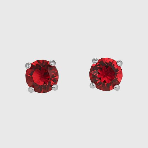 SWAROVSKI Attract Stud Pierced Earrings, Red, Rhodium plated