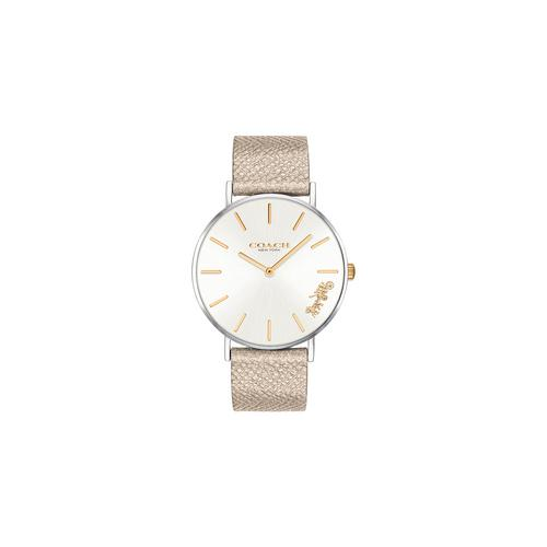 COACH 36mm Perry Quartz Silver Dial champagne leather strap Watch