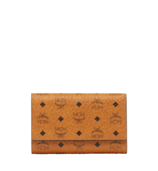 MCM VISETOS ORIGINAL 3-FOLD  MEDIUM WALLET - Cognac