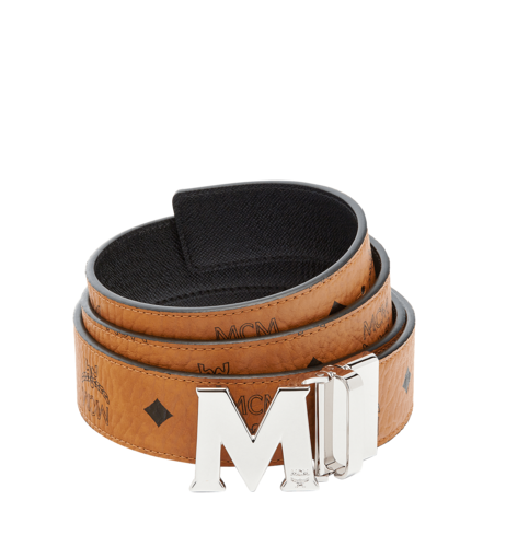 "MCM Claus M Reversible Belt 1.5"" in Visetos - Cognac with Silver Buckle"