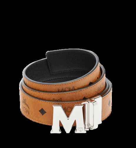 "MCM Claus M Reversible Belt 1.5"" in Visetos - Cognac with Silver Buckle"