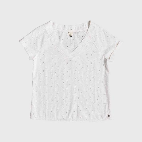 ROXY White Union Square Flower - Short Sleeve Top  size S