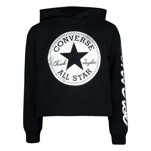 CONVERSE  Chuck Patch Cropped Hoodie - Black - Girls S