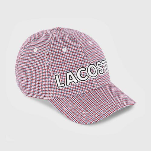 LACOSTE Women's Logo Embroidered Check Baseball Cap