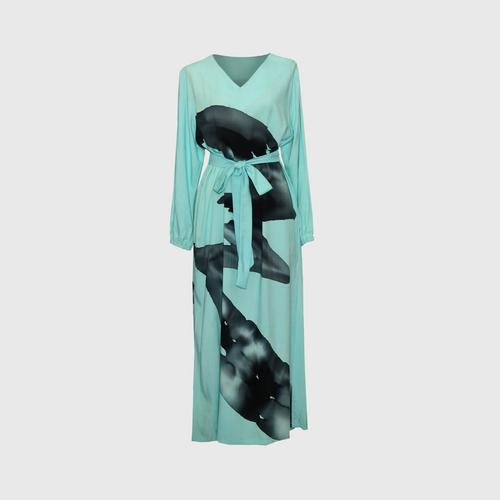 LAISEN V-neck long-sleeve A-line dress with bow tie - Light Blue