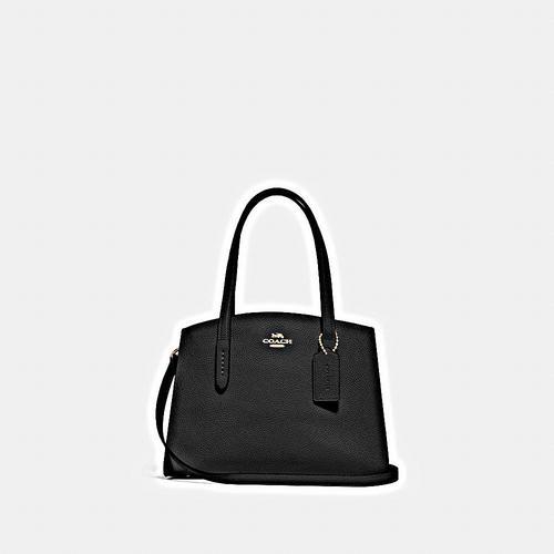 蔻驰 COACH CHARLIE 28号手提包黑色抛光鹅卵石纹皮革内置多功能袋中央拉链隔层垂直长度12.5cm手柄垂直长度49.5cm可拆卸肩带,可用于肩背或斜挎28cm (长) x 18.5cm (高) x 11.5cm (宽)