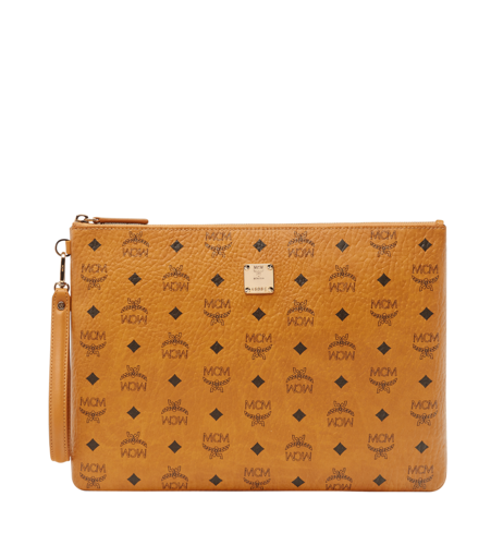 MCM VISETOS ORIGINAL TOP ZIP LARGE POUCH - COGNAC
