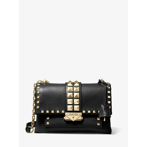 MICHAEL KORS Cece Medium Studded Leather Convertible Shoulder Bag - BLACK