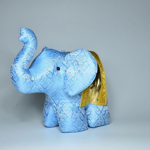 KACHA Elephant Stand Doll Size S 6.5 x 11.5 x 11.5 cm. BLUE