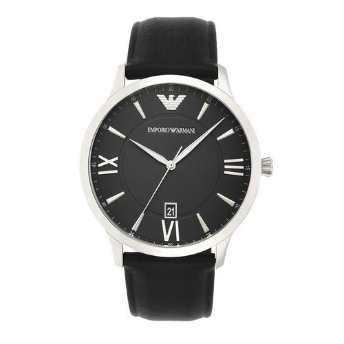 EMPORIO ARMANI Giovanni Analog Black Leather Watch
