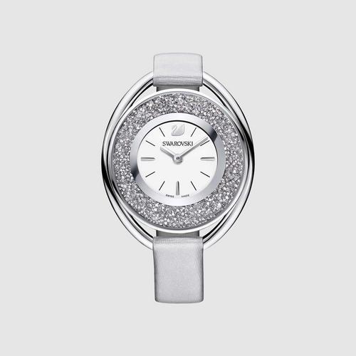 SWAROVSKI Crystalline Oval Watch, Fabric strap, Gray, Silver tone