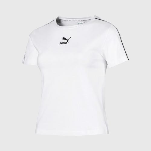 PUMA Women's T-Shirt Classics Tight  Puma White Size XS UK