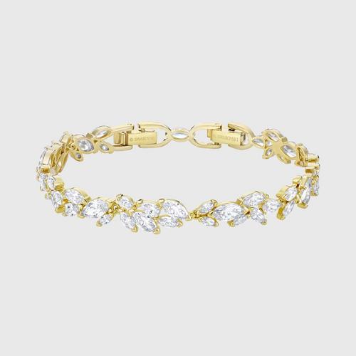 SWAROVSKI Louison Bracelet, White, Gold-tone plated - Size M
