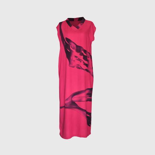 LAISEN V-neck cap sleeve dresss with side slits - Fuchsia Pink