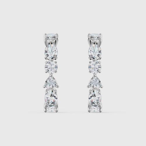 SWAROVSKI Tennis Deluxe Mixed Pierced Earrings, White, Rhodium Plated