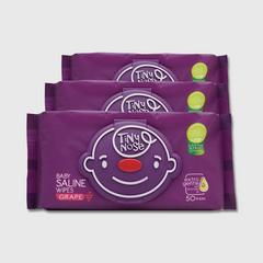 TINYNOSE BABY SALINE WIPES GRAPE 50 SHEETS PACK 3
