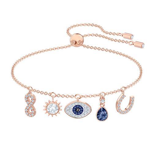 施华洛世奇 SYMBOLIC 手链, 彩色设计, 镀玫瑰金色调 颜色: 蓝色 尺寸: 24 厘米