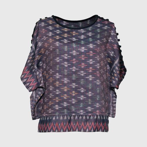 SAMER - Mudmee pattern batwing shirt, size M