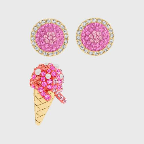 SWAROVSKI No Regrets Ice Cream Pierced Earrings, Multi-colored, Gold-tone plated